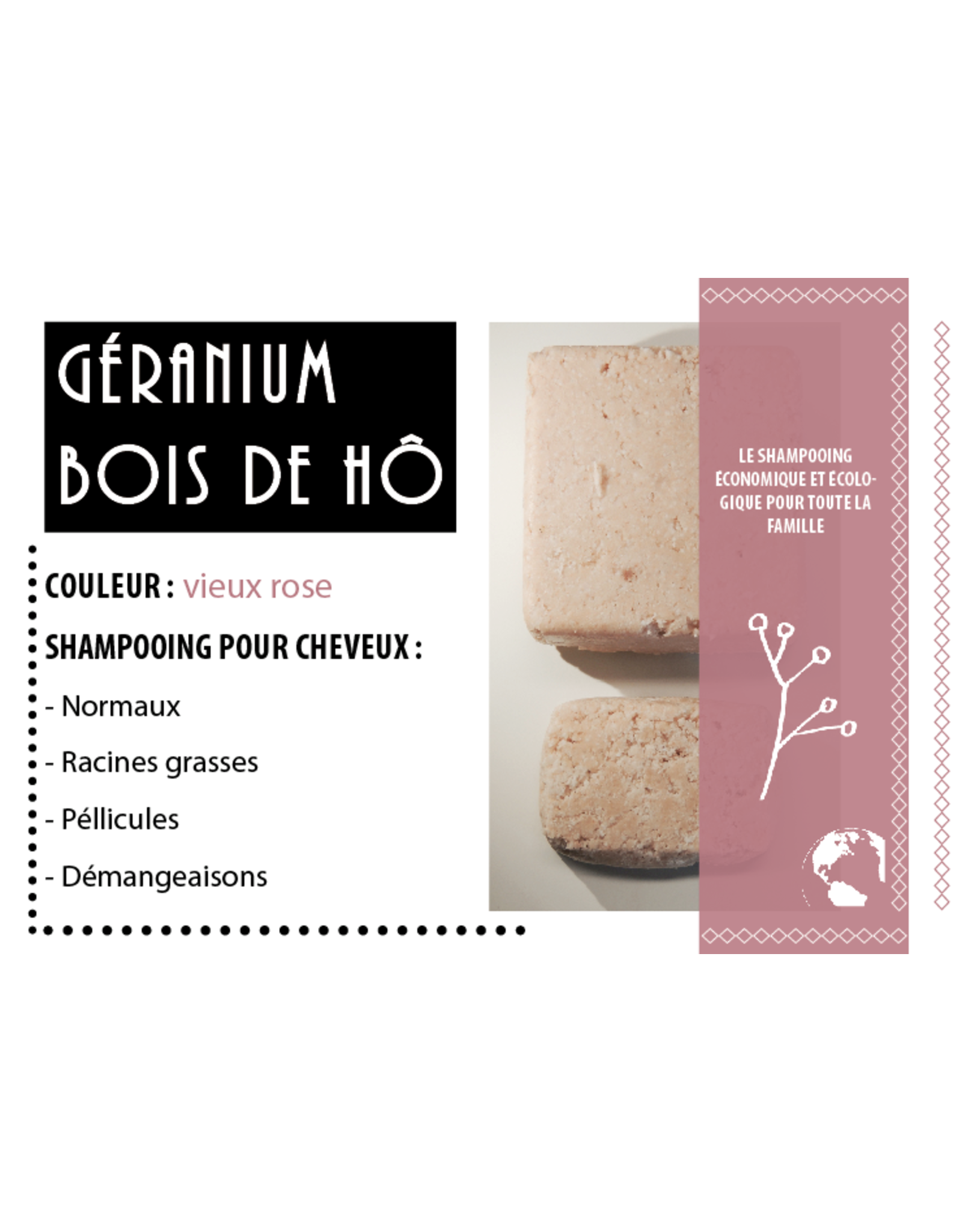 K'rolo Cosmetics Shampoing solide Géranium-Bois de Hô
