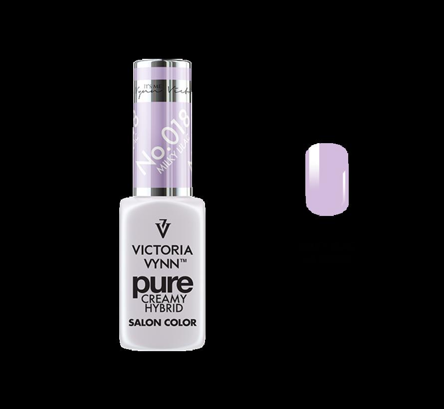 Gellak Victoria Vynn™ Gel Nagellak - Gel Polish - Pure Creamy Hybrid  - 8 ml - Milky Lilac  - 018 - Lila