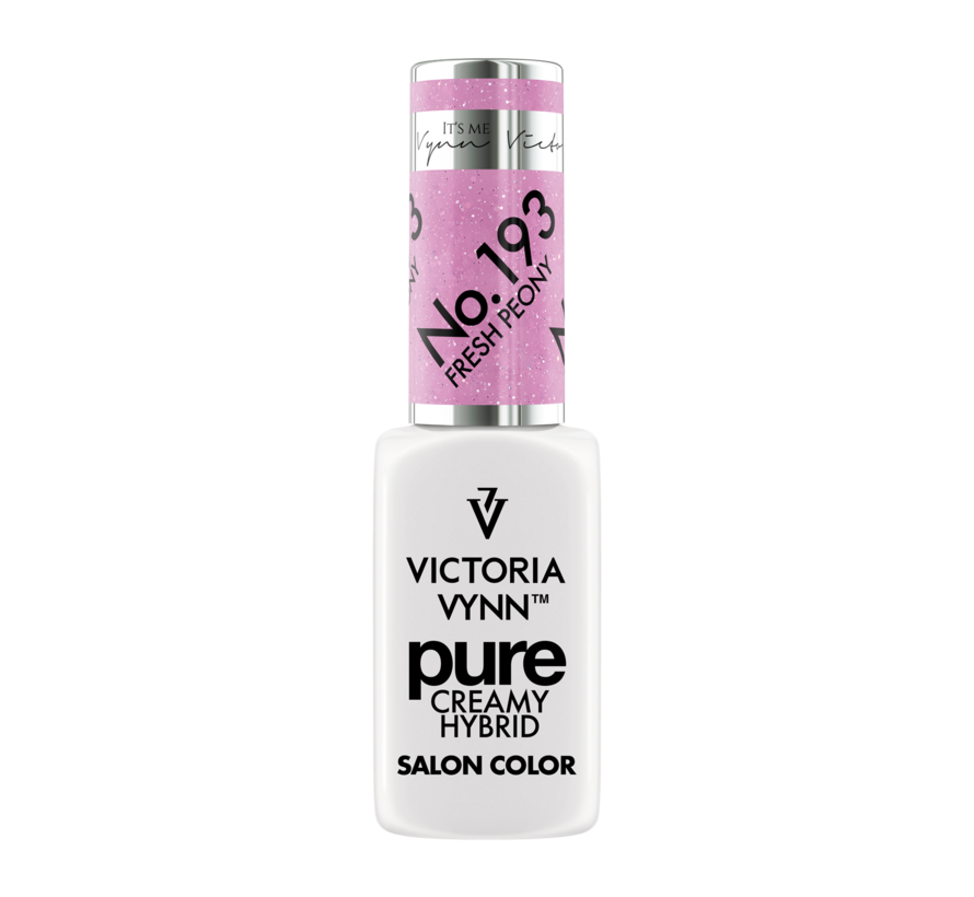 Gellak Victoria Vynn | Pastel Roze Glitter | 193 | Gel Nagellak | Pure Creamy Hybrid | 8 ml | Fresh Peony