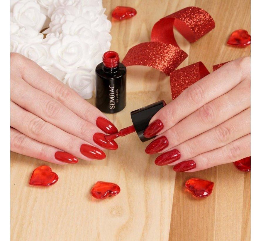Gellak Rood Glitter Semilac | 347 Pretty Red Glitter | Gel Nagellak | 7 ml