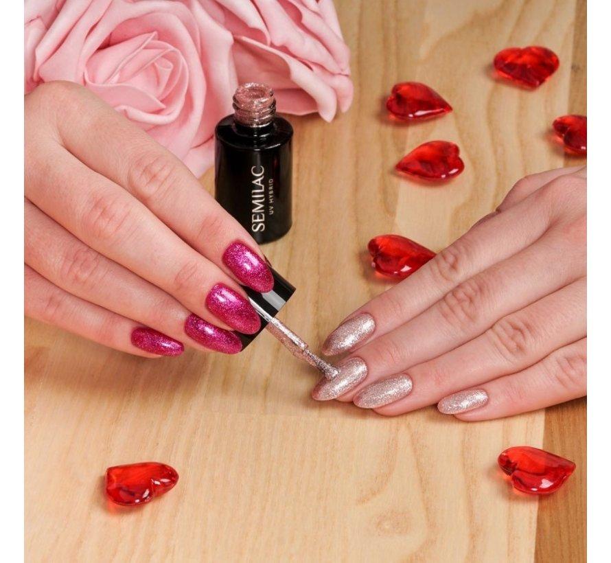 Gellak Roze Glitter Semilac   348 Charming Ruby Glitter   Gel Nagellak   7 ml