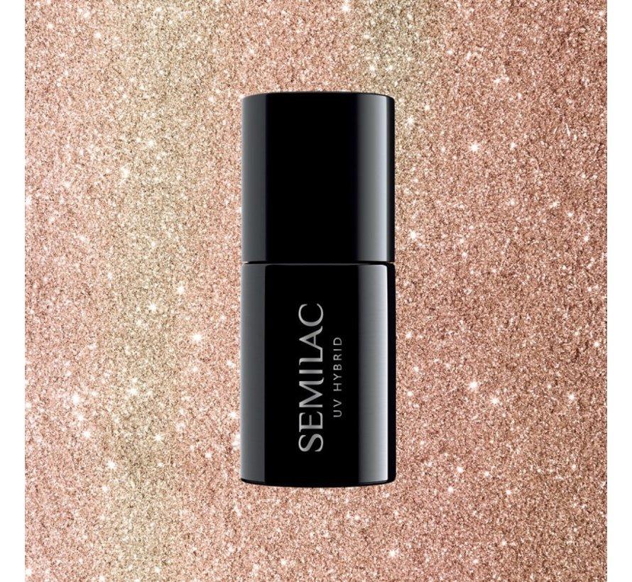Gellak Rose Goud Glitter Semilac | 349 Delicate Vanilla Glitter | Gel Nagellak | 7 ml