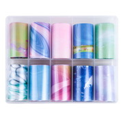 IMPREZZ® Imprezz Transferfolie | Marmer Pastel Design | Folie voor nailart | 10 verschillende prints