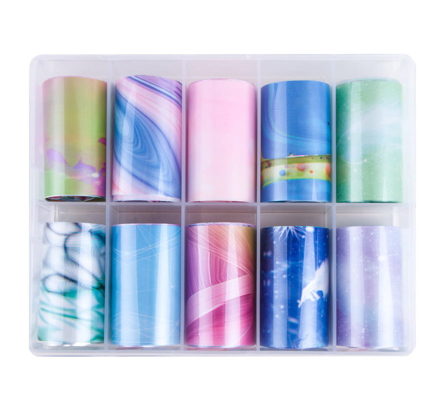 Imprezz Transferfolie | Marmer Pastel Design | Folie voor nailart | 10 verschillende prints