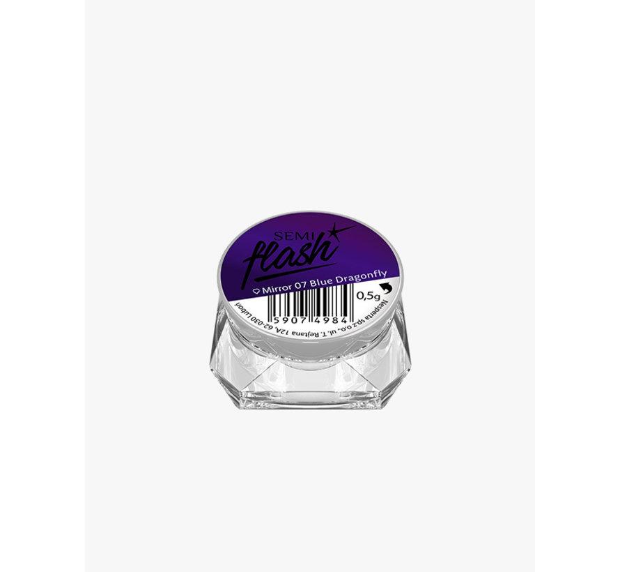 Semilac - SemiFlash - Pigment voor op de nagels - MIRROR 07 Blue Dragonfly