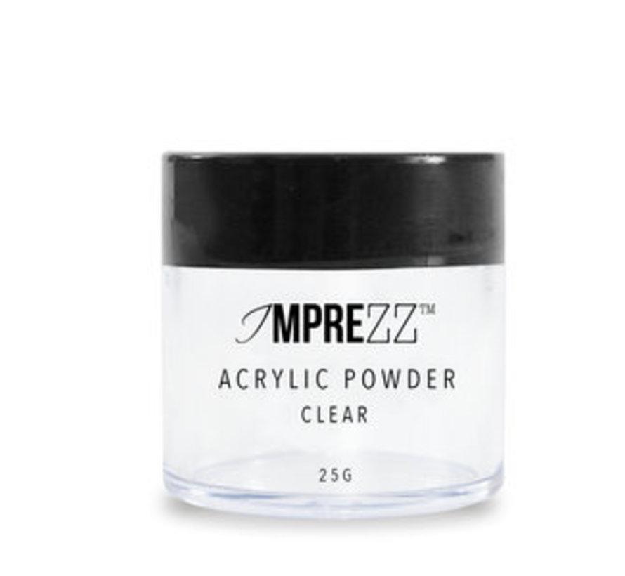 IMPREZZ® acrylpoeder - acrylic powder Clear 25 gr. - Transparant - Goedkope acrylpoeder  voor de professional