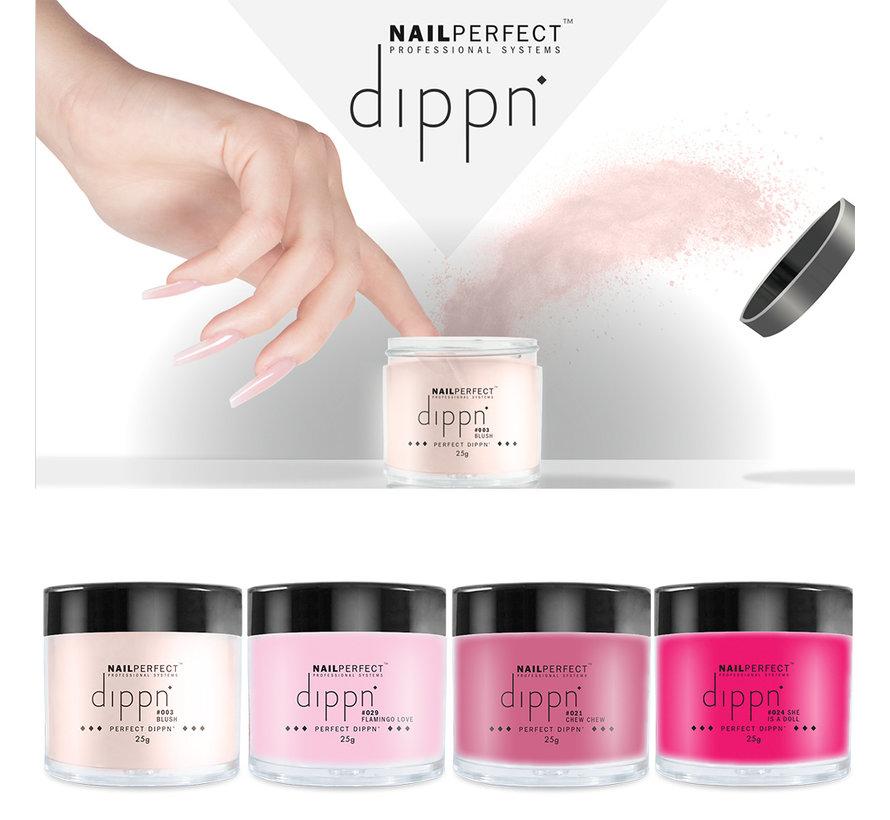 Dip poeder Starter Kit Color - NailPerfect - Dippn Kit (Dippn' Sticky Base 15ml, Dippn' Activator 15ml, Dippn' Fast Dry Top Coat 15ml, 4 kleuren Dippn') Set t.w.v.€ 63,65 excl. btw -