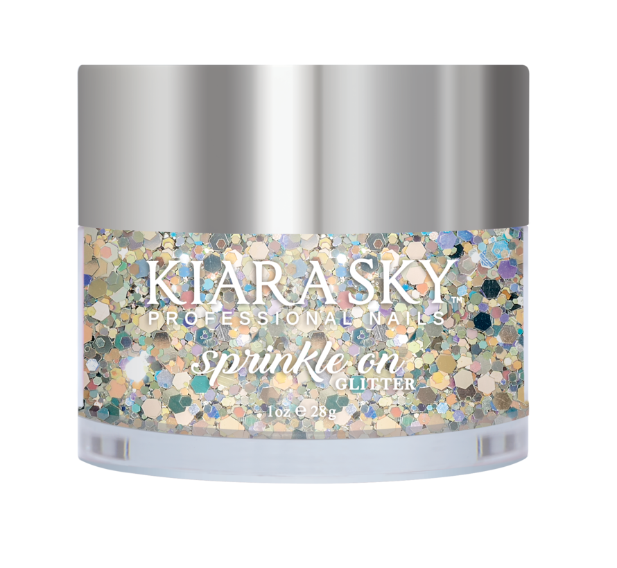 Kiara Sky Sprinkle On Glitter SP203 - GLAM AND GLISTEN - 25 gram - Strooi deze losse glitters in jouw gellak - gel of acryl en maak van jouw nagels een feestje