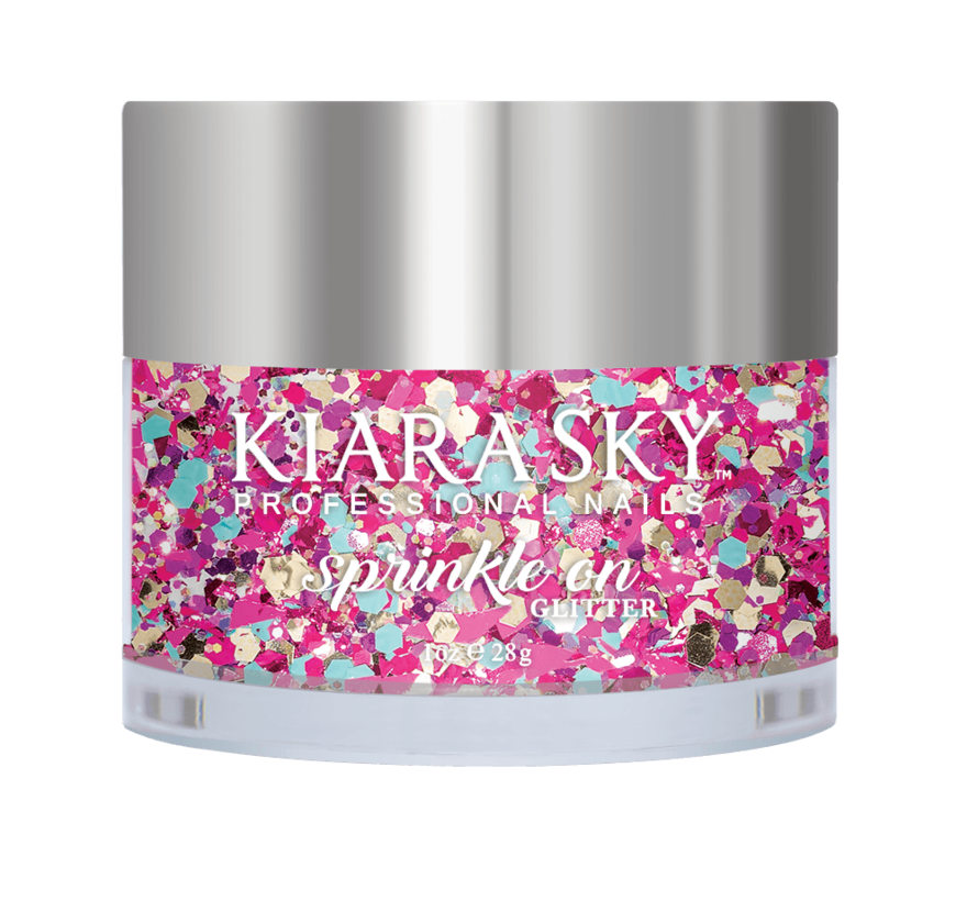 Kiara Sky Sprinkle On Glitter SP224 - B-DAY BASH - 25 gram - Strooi deze losse glitters in jouw gellak - gel of acryl en maak van jouw nagels een feestje