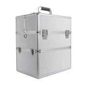 IMPREZZ® Nagelkoffer - Beauty Case XL Wit met glitters - Exclusief bij ONS verkrijgbaar - met speciale vakjes voor jouw gellakken - veel opbergruimte