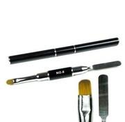 IMPREZZ® Polygel Spatula - nageltool met penseel (beide zijden te gebruiken) - kleur ZWART - in koker verpakt
