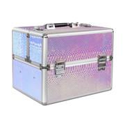 IMPREZZ® Beautycase | Nagel koffer | Make Up koffer XL | Hologram Unicorn Snake Iriserend | met super handige indeling voor nagellakken of flesjes | Past een lamp in!