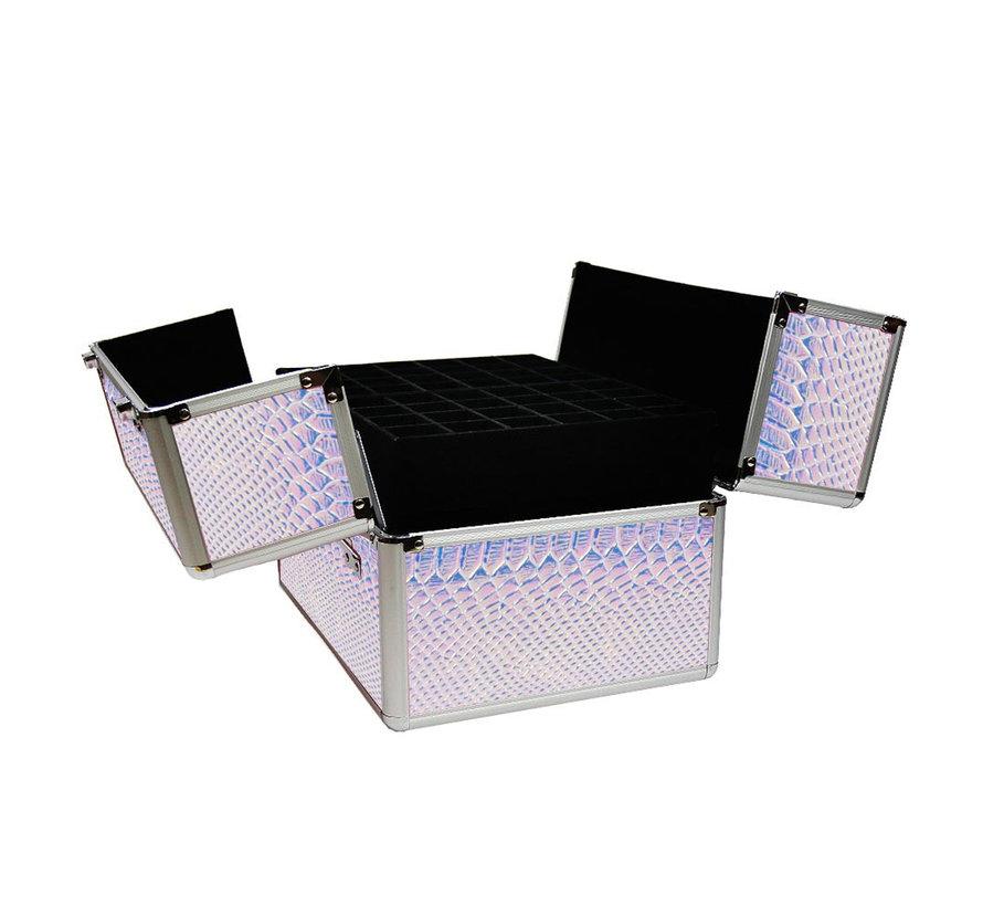 Beautycase | Nagel koffer | Make Up koffer XL | Hologram Unicorn Snake Iriserend | met super handige indeling voor nagellakken of flesjes | Past een lamp in!