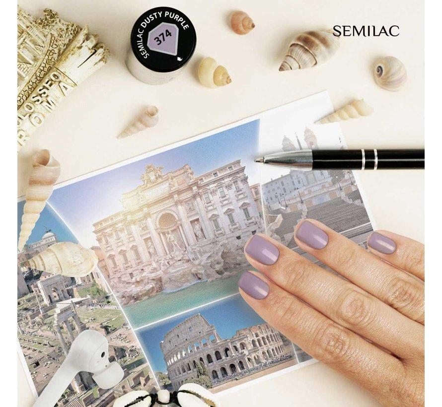 Semilac Gellak   Gelpolish Soak Off   374 Dusty Purple   7 ml.   Paars