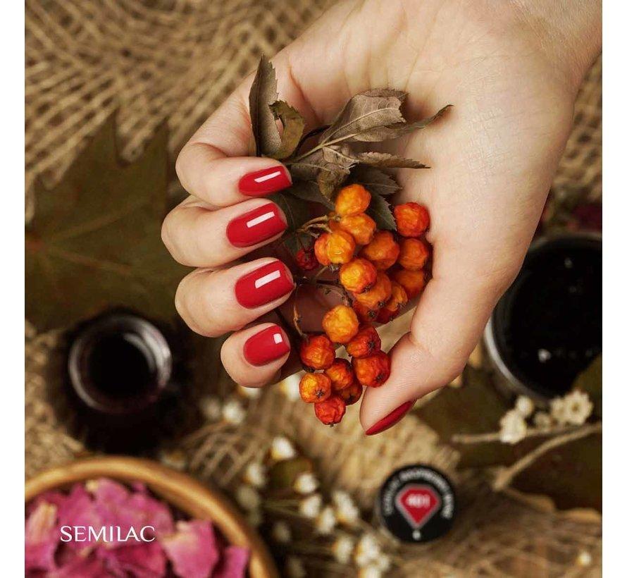 Semilac Gellak   Gelpolish Soak Off   401 Raspberry Wine   7 ml.   Rood
