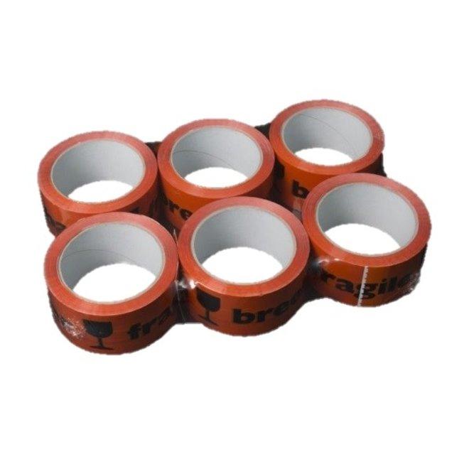 Breekbaar Tape Oranje / Zwart verpakking van 6 stuks PP Acryl