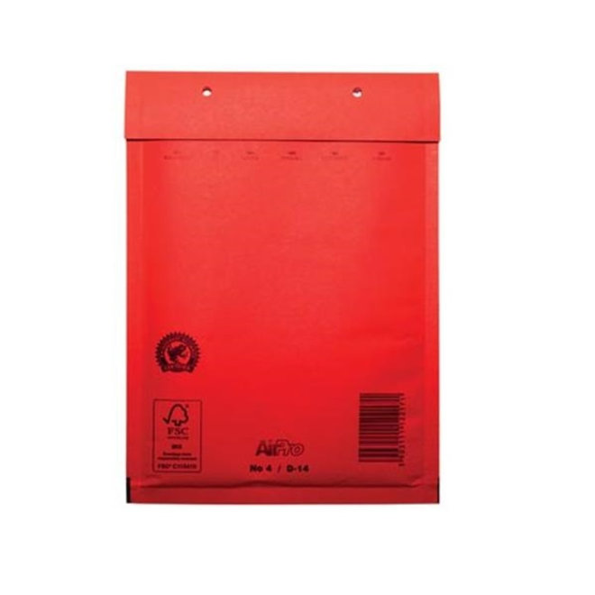 Rode luchtkussen enveloppen D 180 x 265 mm A5+ Rood Gekleurd  - Doos met 100 enveloppen