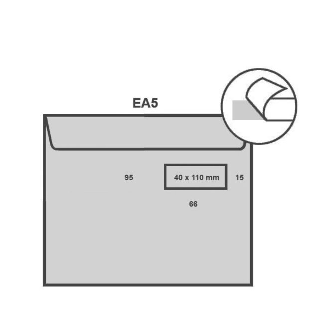 Witte envelop EA5 156 x 220 mm venster rechts doos 500 stuks
