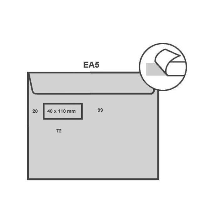 Witte envelop EA5 156 x 220 mm venster links doos 500 stuks