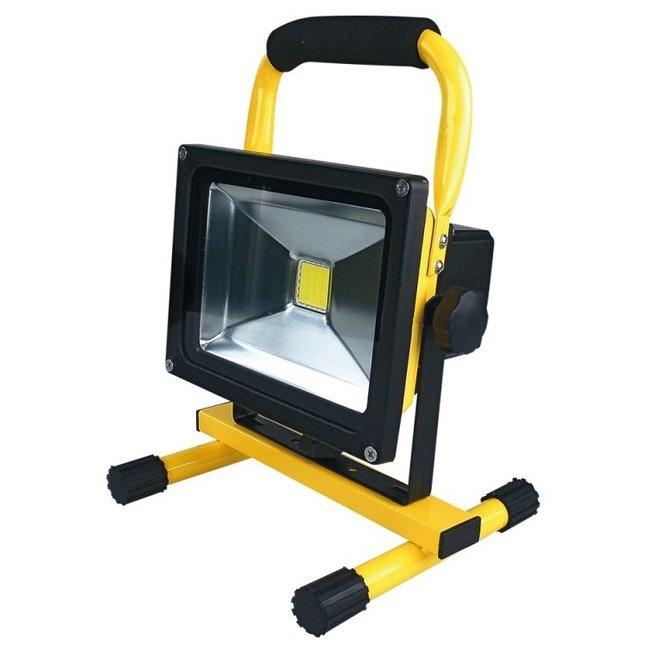 20W LED Bouwlamp met Accu Waterdicht Inclusief 12V autolader