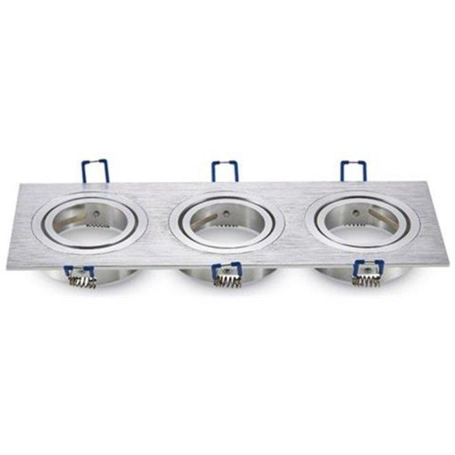 GU10 brush aluminium armatuur voor 3 spots kantelbaar