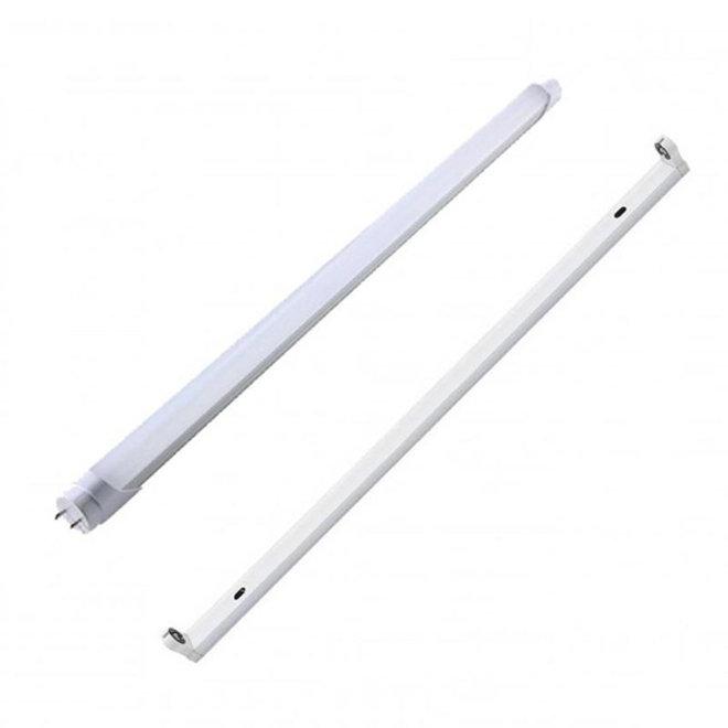 LED TL armatuur 120 cm opbouw voor een buis - Inclusief LED TL Buis - Plug & Play - 18W