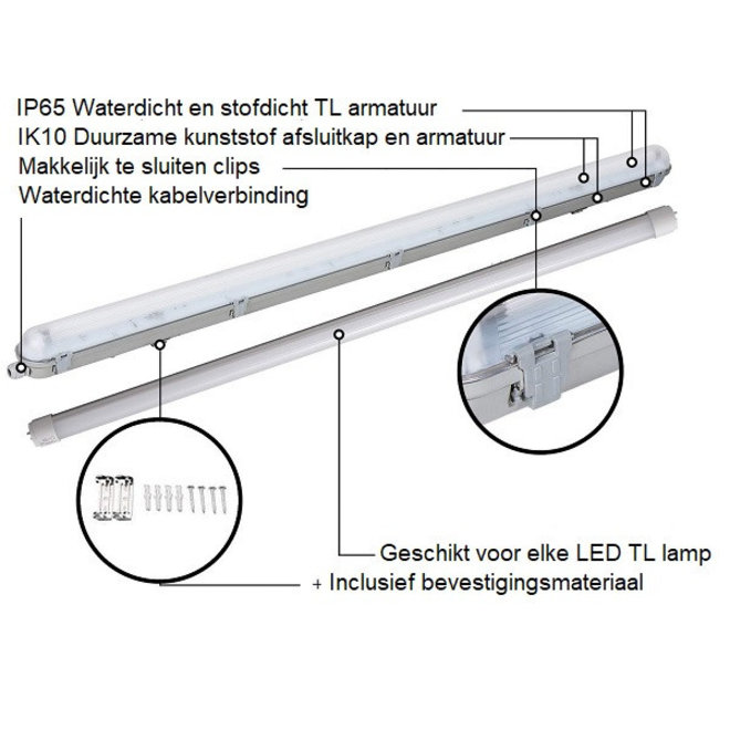 Waterdicht IP65 LED TL armatuur 120 cm tweevoudig - Kant en klaar voor twee led tl buizen