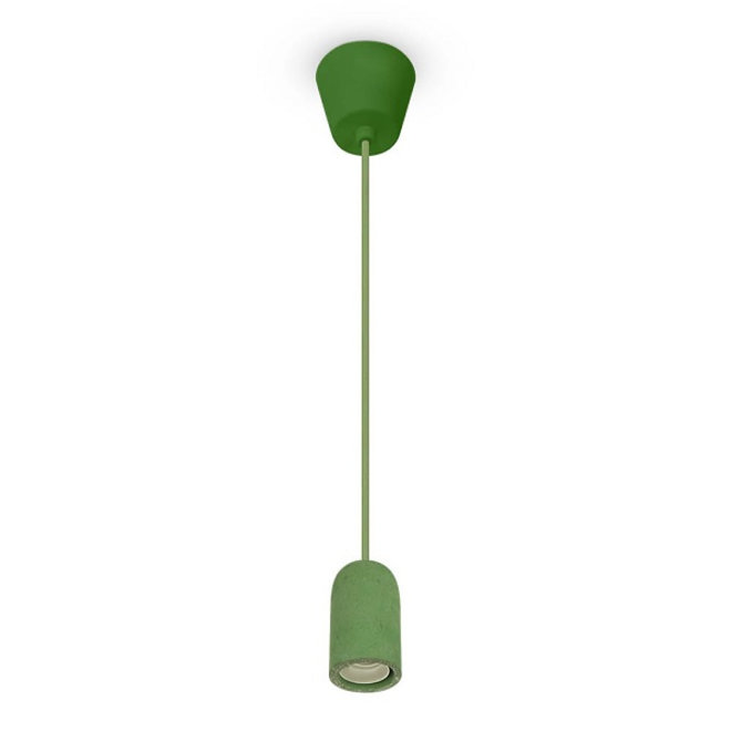Groene Pendel E27 Beton / Cement inclusief E27 Fitting en Plafondkap
