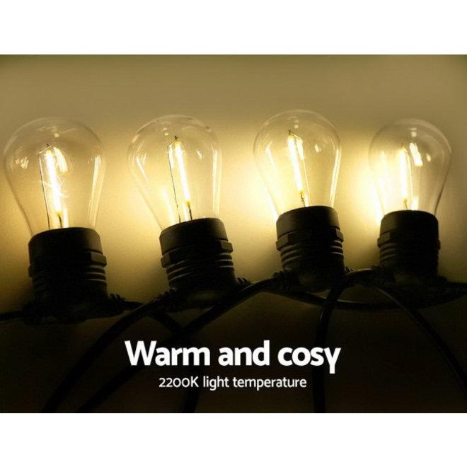 Specilights Feestverlichting Prikkabel 10 Meter 10 Lampen met Stekker - Doorkoppelbaar - Inclusief S14 Filament Lampen