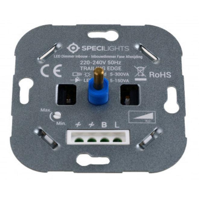 Specilights LED Dimmer Inbouw - Inbouwdimmer Fase Afsnijding - 5-150W - Druk- en Draaidimmer