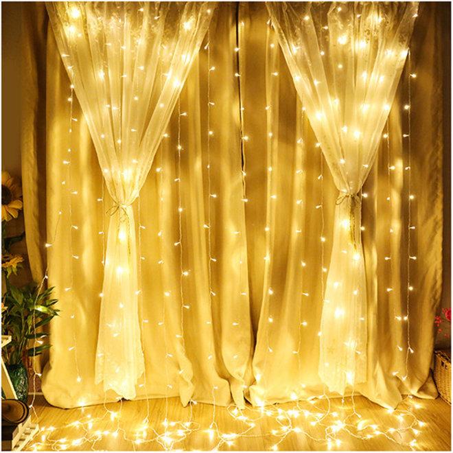 LED Lichtgordijn 3*3 meter met stekker - Kerstverlichting - 304 Lampen - Extra warm wit - 8 standen - Waterdicht - Koppelbaar