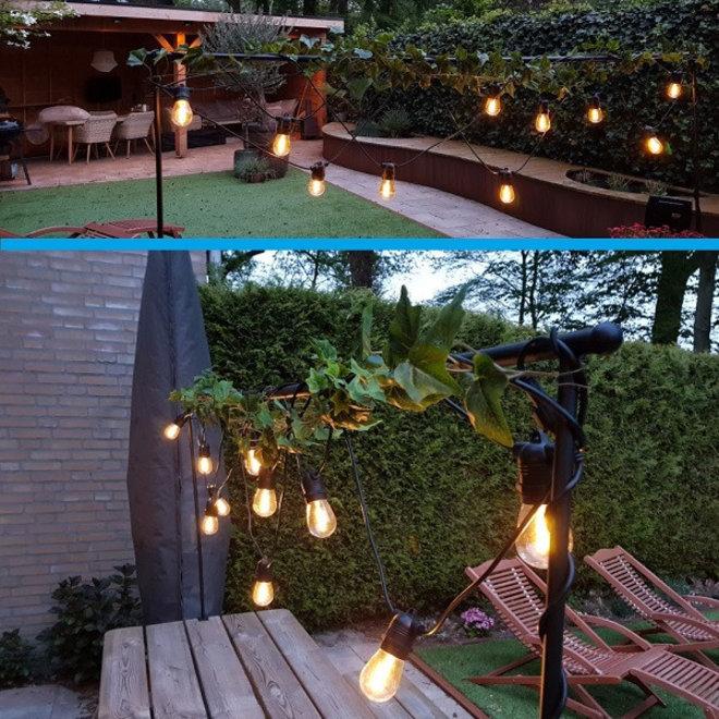 Solar Feestverlichting Prikkabel 10 Meter 10 Lampen op Zonne-energie / Zonnepaneel