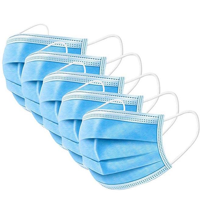 3-laags mondkapjes - latexvrij met elastiek en neusclip - dispenserdoos 50 stuks