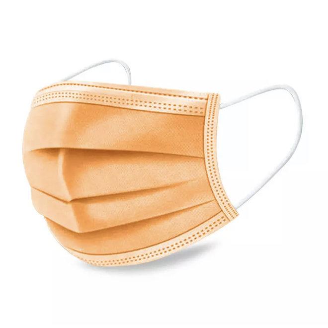 3-laags mondkapjes Oranje - Gesealde verpakking - 50 stuks - Conform NEN-EN 149:2001+A1:2009