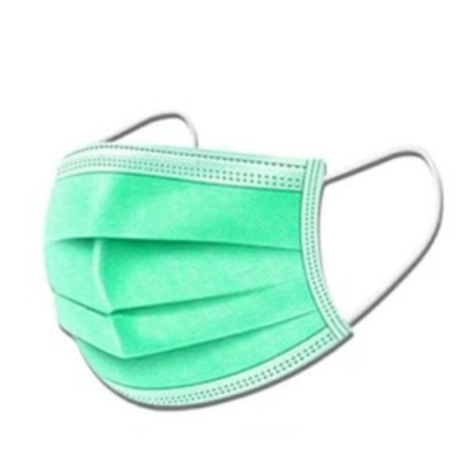 3-laags mondkapjes Groen - Gesealde verpakking - 50 stuks - Conform NEN-EN 149:2001+A1:2009