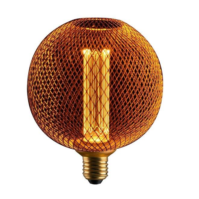 LED Cage Globe G125 - Dimbare lamp 3W - Goud metaal - LED Kooldraadlamp