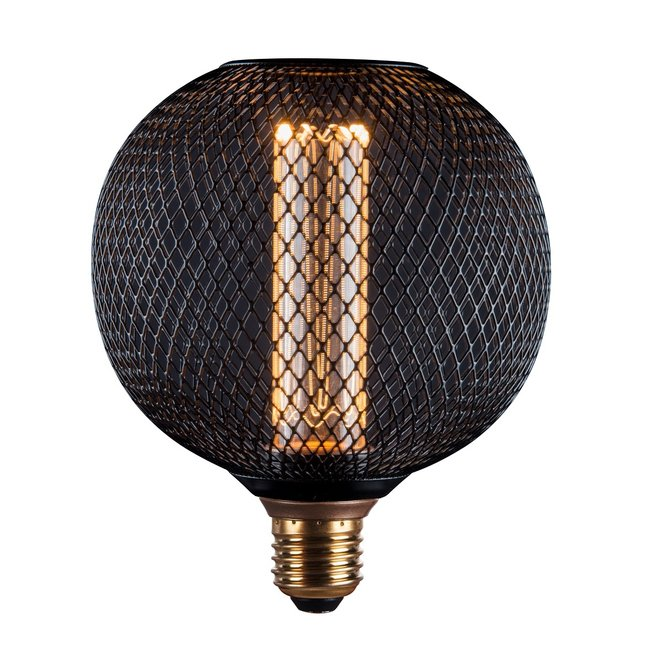 LED Cage Globe G125 - Dimbare lamp 3W - Zwart metaal - LED Kooldraadlamp