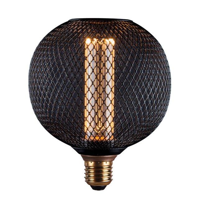 LED Cage Globe G125 - 3-Stap dimbare lamp 3W - Zwart metaal - LED Kooldraadlamp