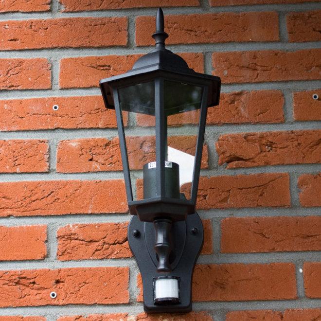 Tuin Wandlamp Lantaarn Cefalù Zwart met Sensor