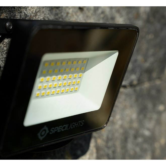 10W LED Bouwlamp Zwart - Waterdicht IP65 - 5 jaar garantie - 3000K