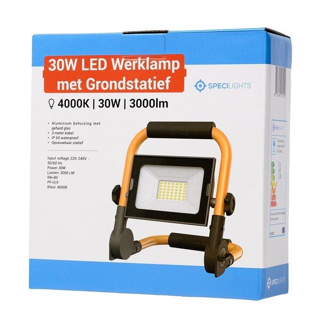 30W LED Bouwlamp met grondstatief + 3 meter kabel met stekker - Waterdicht IP65