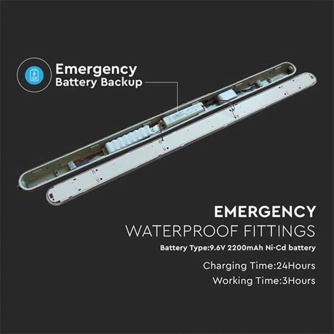 Waterdicht IP65 LED armatuur opbouw met noodunit 1.5m