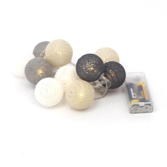 Cotton Ball Lights - lichtslinger met 10 lampjes - Kant en Klaar - Warm licht - Op batterijen