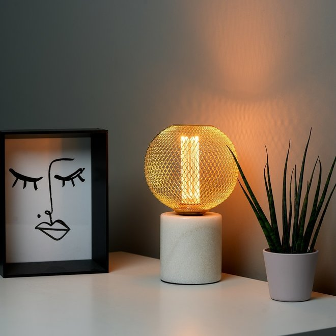 LED Cage Globe G125 - Dimbare lamp - Goud metaal - LED Kooldraadlamp
