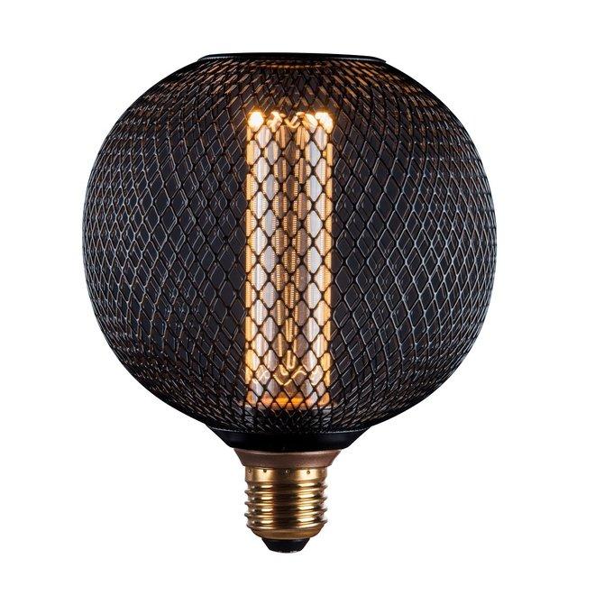 LED Cage Globe G125 - Dimbare lamp - Zwart metaal - LED Kooldraadlamp