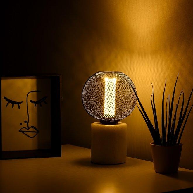 Marmeren Tafellamp Wit - E27 Fitting - Ronde Vorm en Witte Kleur