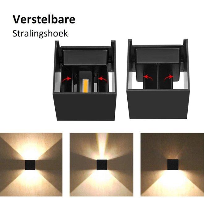 LED wandlamp zwart 12W - Waterdicht met instelbare stralingshoek - Muurlamp IP65 3000K
