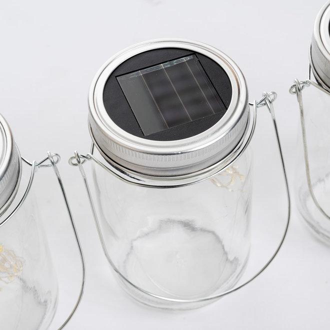 Solar Jar LED Tafellamp - 3 Glazen potten met led string verlichting - Solar tuinverlichting op zonne-energie - Mason Jar Tuinlamp