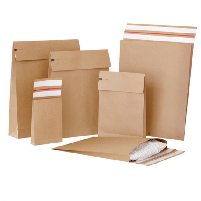 Specipack Kraft Verzendzak- Green E-commerce Blokbodem Mailer - 250 x 350 x 50 mm - 120 g/m2 - Dubbele Kleefstrip - Doos 250 enveloppen