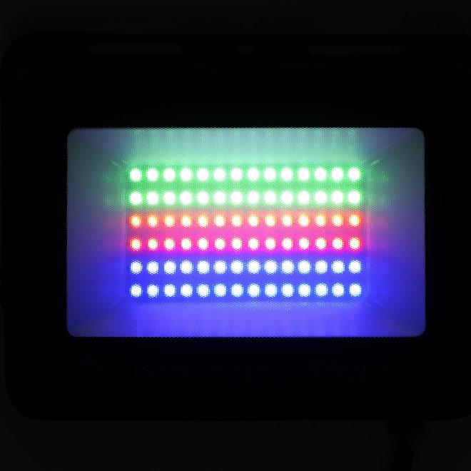 15W RGB LED Bouwlamp - Floodlight inclusief Remote - Waterdicht met 1,5 kabel en stekker